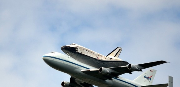 Space Shuttle Discovery rides a 747 for a tour of the DC area, April 17, 2012