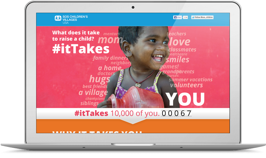SOS Children's Villages USA #ItTakes campaign website viewed on a laptop